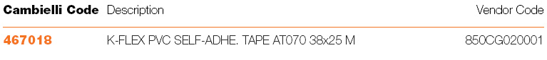 A72 ACC.K-FLEX PVC SELF-ADHESIVE TAPE AT 070 specifications
