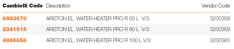 AG0 ELECTRIC WATER HEATERS PRO 3 YEARS specifications