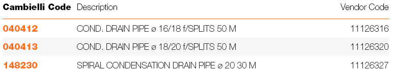 050 CONDENSATION DRAIN PIPES specifications