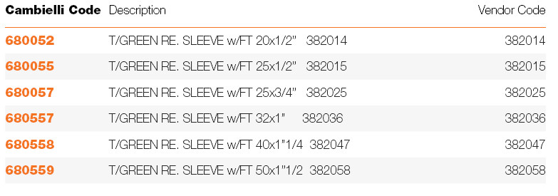 100 REDUCING SLEEVES w/FEMALE THREAD specifications