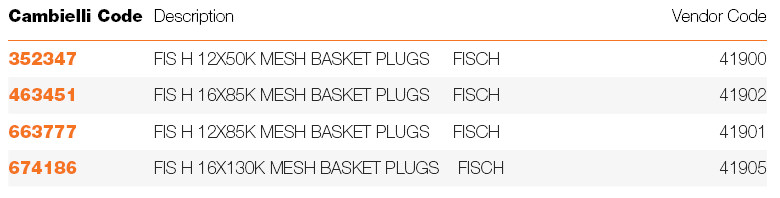 486 FIS-HK MESH BASKET PLUGS FOR INJECTION specifications