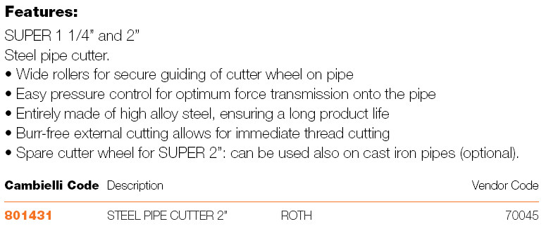 072 STEEL PIPE CUTTER specifications
