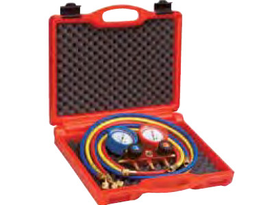 282 MANIFOLD SET 4-WAY w/PRESSURE HOSE+CASE