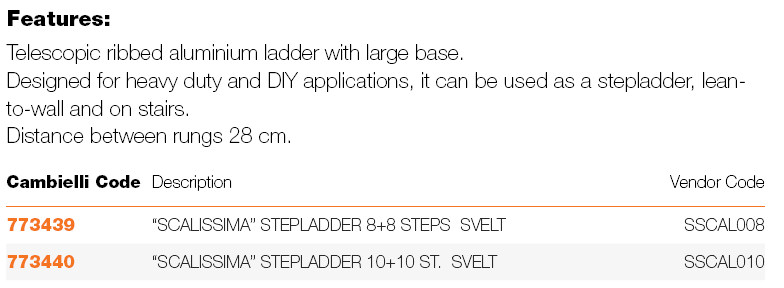 "045 ""SCALISSIMA"" STEPLADDER specifications"