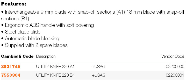 040 UTILITY KNIFE 220 A1-B1 specifications